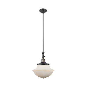 Oxford School House Black Antique Brass 15-Inch LED Pendant with White Bell Glass