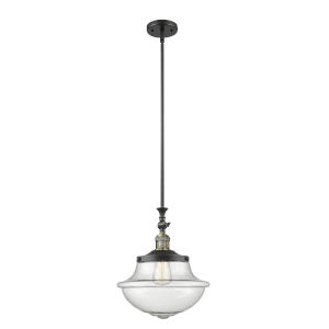 Franklin Restoration Black Antique Brass 12-Inch LED Pendant with Seedy Large Oxford Shade and Wire