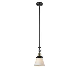 Small Cone Black Antique Brass 14-Inch LED Mini Pendant with Matte White Cased Cone Glass