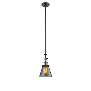 Small Cone Black Antique Brass 14-Inch LED Mini Pendant with Smoked Cone Glass