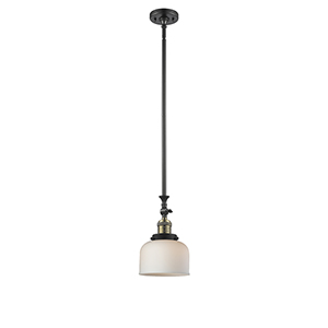Large Bell Black Antique Brass 14-Inch LED Mini Pendant with Matte White Cased Dome Glass