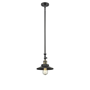 Railroad Black Antique Brass 14-Inch LED Mini Pendant with Matte Black Metal Shade