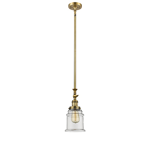 Canton Brushed Brass 14-Inch LED Mini Pendant with Clear Bell Glass