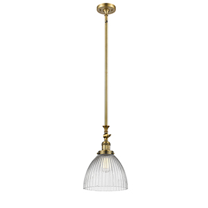 Seneca Falls Brushed Brass LED Mini Pendant with Clear Dome Glass