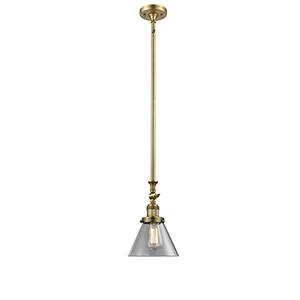 Large Cone Brushed Brass 14-Inch LED Mini Pendant with Clear Cone Glass