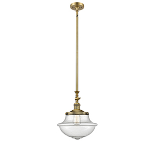 Oxford School House Brushed Brass 15-Inch LED Pendant with Seedy Bell Glass