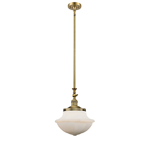 Oxford School House Brushed Brass 15-Inch One-Light Pendant with White Bell Glass