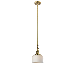 Large Bell Brushed Brass 14-Inch LED Mini Pendant with Matte White Cased Dome Glass