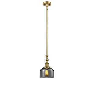 Large Bell Brushed Brass 14-Inch LED Mini Pendant with Smoked Dome Glass