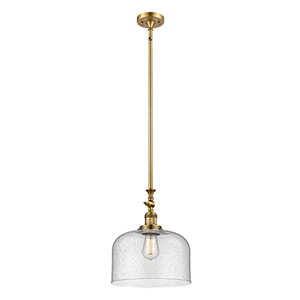 X-Large Bell Brushed Brass One-Light Pendant with Seedy Dome Glass