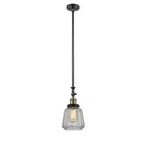 Chatham Black Brushed Brass 14-Inch One-Light Mini Pendant with Clear Fluted Novelty Glass