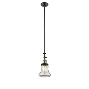 Bellmont Black Brushed Brass 14-Inch One-Light Mini Pendant with Clear Hourglass Glass