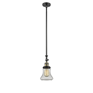 Bellmont Black Brushed Brass 14-Inch One-Light Mini Pendant with Seedy Hourglass Glass
