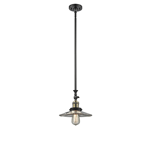 Halophane Black Brushed Brass 12-Inch LED Mini Pendant with Halophane Cone Glass