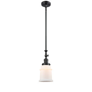 Canton Matte Black LED Hang Straight Swivel Mini Pendant with Matte White Glass