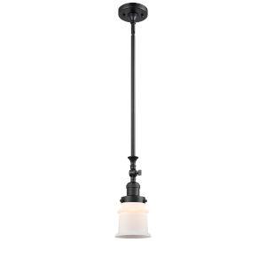 Franklin Restoration Matte Black Seven-Inch LED Mini Pendant with Matte White Canton Shade and Wire