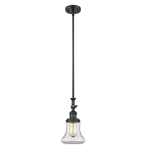 Bellmont Black 14-Inch One-Light Mini Pendant with Clear Hourglass Glass