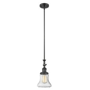 Franklin Restoration Matte Black Seven-Inch One-Light Mini Pendant with Seedy Bellmont Shade and Wire