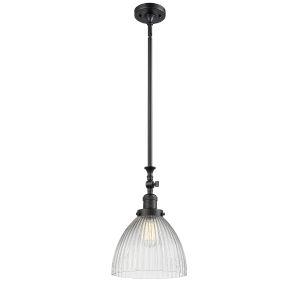 Seneca Falls Matte Black LED Mini Pendant with Clear Glass