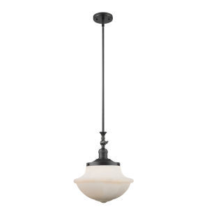 Franklin Restoration Matte Black 12-Inch One-Light Pendant with Matte White Cased Large Oxford Shade and Wire