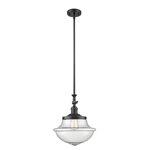 Oxford School House Black 15-Inch One-Light Pendant with Seedy Bell Glass