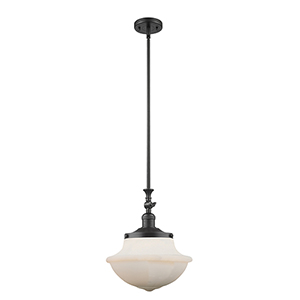 Oxford School House Black 15-Inch One-Light Pendant with White Bell Glass