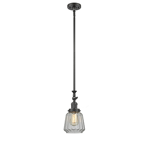 Chatham Oiled Rubbed Bronze 14-Inch One-Light Mini Pendant with Clear Fluted Novelty Glass