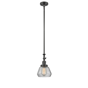 Fulton Oiled Rubbed Bronze 14-Inch One-Light Mini Pendant with Clear Sphere Glass