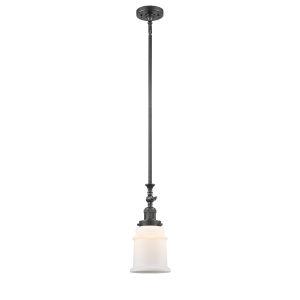 Canton Oil Rubbed Bronze One-Light Hang Straight Swivel Mini Pendant with Matte White Glass