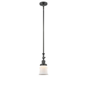 Franklin Restoration Oil Rubbed Bronze Seven-Inch LED Mini Pendant with Matte White Canton Shade and Wire