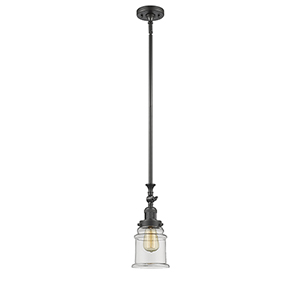 Canton Oiled Rubbed Bronze 14-Inch One-Light Mini Pendant with Clear Bell Glass