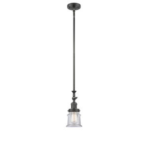 Franklin Restoration Oil Rubbed Bronze Seven-Inch One-Light Mini Pendant with Clear Canton Shade and Wire