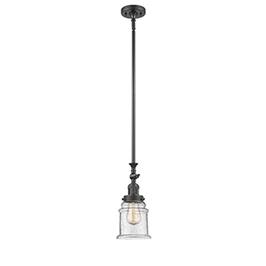 Canton Oiled Rubbed Bronze 14-Inch LED Mini Pendant with Seedy Bell Glass