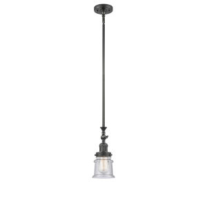 Franklin Restoration Oil Rubbed Bronze Seven-Inch LED Mini Pendant with Seedy Canton Shade and Wire