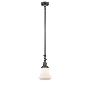 Franklin Restoration Oil Rubbed Bronze Seven-Inch One-Light Mini Pendant with Matte White Bellmont Shade and Wire