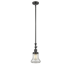 Bellmont Oiled Rubbed Bronze 14-Inch LED Mini Pendant with Clear Hourglass Glass