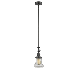 Bellmont Oiled Rubbed Bronze 14-Inch One-Light Mini Pendant with Seedy Hourglass Glass