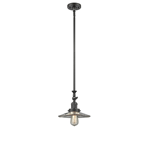 Halophane Oiled Rubbed Bronze 12-Inch LED Mini Pendant with Halophane Cone Glass