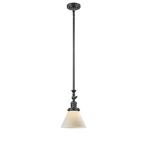 Large Cone Oiled Rubbed Bronze 14-Inch LED Mini Pendant with Matte White Cased Cone Glass