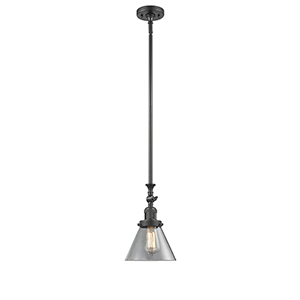 Large Cone Oiled Rubbed Bronze 14-Inch LED Mini Pendant with Clear Cone Glass