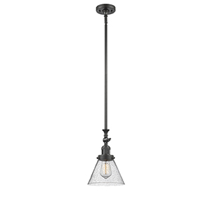 Large Cone Oiled Rubbed Bronze 14-Inch LED Mini Pendant with Seedy Cone Glass