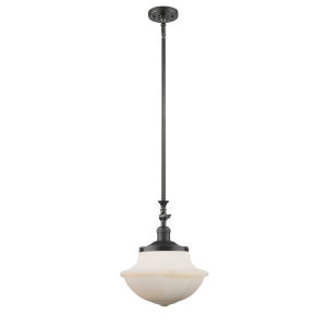 Franklin Restoration Oil Rubbed Bronze 12-Inch One-Light Pendant with Matte White Cased Large Oxford Shade and Wire