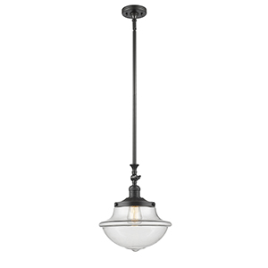 Oxford School House Oiled Rubbed Bronze 15-Inch One-Light Pendant with Clear Bell Glass