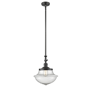 Oxford School House Oiled Rubbed Bronze 15-Inch LED Pendant with Seedy Bell Glass