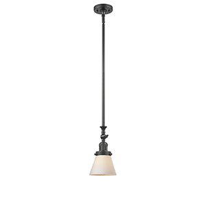 Small Cone Oiled Rubbed Bronze 14-Inch LED Mini Pendant with Matte White Cased Cone Glass