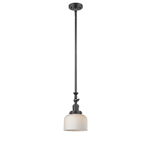 Large Bell Oiled Rubbed Bronze 14-Inch LED Mini Pendant with Matte White Cased Dome Glass