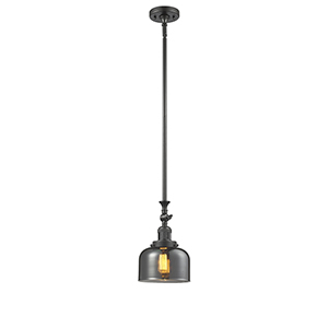 Large Bell Oiled Rubbed Bronze 14-Inch LED Mini Pendant with Smoked Dome Glass