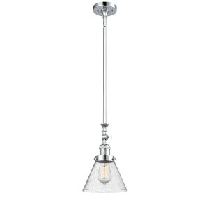 Large Cone Polished Chrome One-Light Hang Straight Swivel Mini Pendant with Seedy Glass