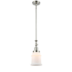 Canton Polished Nickel LED Hang Straight Swivel Mini Pendant with Matte White Glass