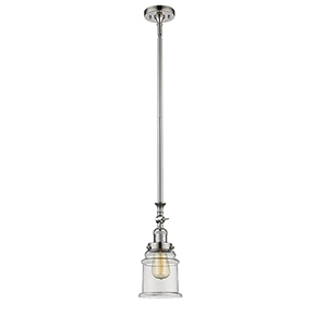 Canton Polished Nickel 14-Inch One-Light Mini Pendant with Clear Bell Glass